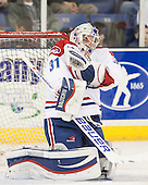 Doug Carr (UML - 31) - The University of Massachusetts Lowell River Hawks defeated the visiting American International College Yellow Jackets 6-1 on Tuesday, December 3, 2013, at Tsongas Arena in Lowell, Massachusetts.