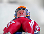 7 February 2009: Martins Rubenis slides for Latvia in the Men's Competition at the 41st FIL Luge World Championships, in Lake Placid, New York, USA. .  .Mandatory Photo Credit: Ed Wolfstein Photo