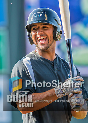 21 July 2016: Hudson Valley Renegades outfielder Garrett Whitley awaits his turn in the batting cage prior to a game against the Vermont Lake Monsters at Centennial Field in Burlington, Vermont. The Lake Monsters edged out the Renegades 4-3 in NY Penn League play. Mandatory Credit: Ed Wolfstein Photo *** RAW (NEF) Image File Available ***