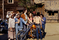 June 1978. Los Angeles, California, USA. Sheila with a motorcycle gang.