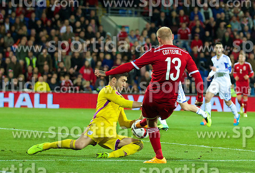 13.10.2014, City Stadium, Cardiff, WAL, UEFA Euro Qualifikation, Wales vs Zypern, Gruppe B, im Bild Wales' David Cotterill is denied by Cyprus' goalkeeper Tasos Kissas // 15054000 during the UEFA EURO 2016 Qualifier group B match between Wales and Cyprus at the City Stadium in Cardiff, Wales on 2014/10/13. EXPA Pictures &copy; 2014, PhotoCredit: EXPA/ Propagandaphoto/ David Rawcliffe<br /> <br /> *****ATTENTION - OUT of ENG, GBR*****