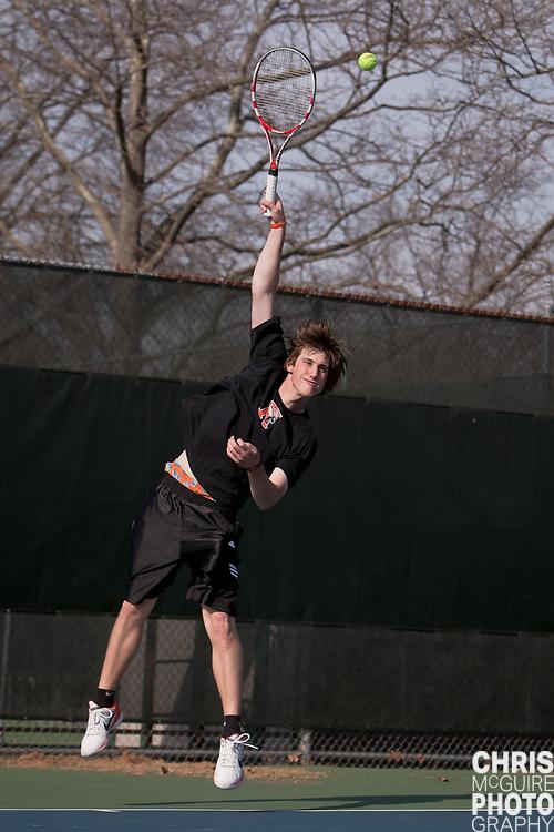 04/21/11 - Kalamazoo, MI:  Kalamazoo College men's tennis vs Trine.  Kalamazoo won the match 9-0.  Photo by Chris McGuire.
