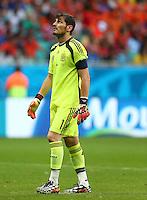 Spain goalkeeper Iker Casillas looks to the sky
