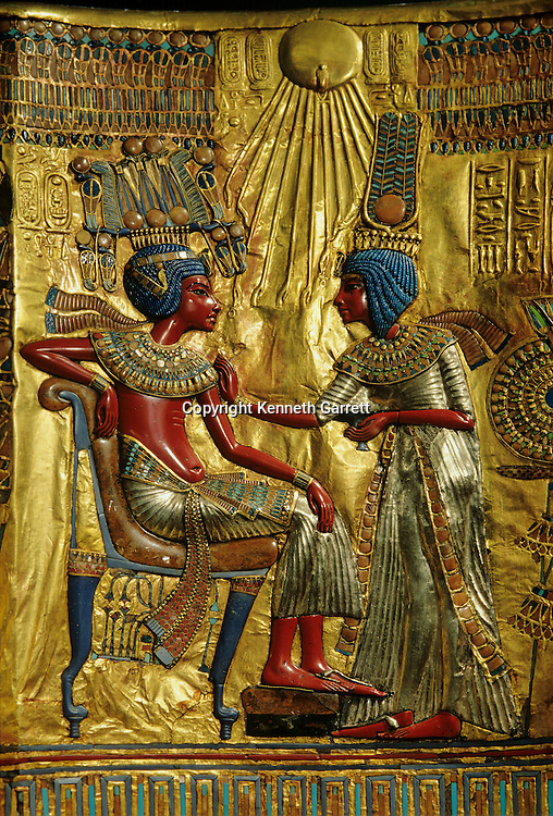 Gold Throne of King Tutankhamun depicts ruler with wife Ankhsenamun,Tutankhamun and the Golden Age of the Pharaohs, Page 172