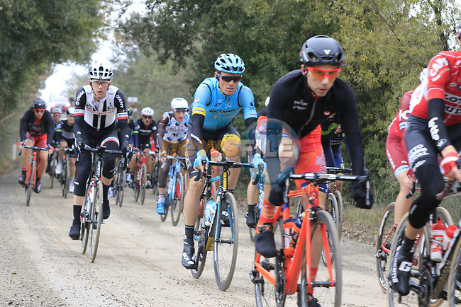 The peloton including Luis Leon Sanchez (ESP) Astana on gravel sector 3 Radi during the 2017 Strade Bianche running 175km from Siena to Siena, Tuscany, Italy 4th March 2017.<br /> Picture: Eoin Clarke | Newsfile<br /> <br /> <br /> All photos usage must carry mandatory copyright credit (&copy; Newsfile | Eoin Clarke)