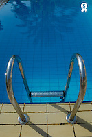 Palm tree reflected in pool, ladder in foreground (Licence this image exclusively with Getty: http://www.gettyimages.com/detail/sb10065145ba-001 )