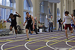 12 MAR 2011:  Xavier Mateen of Buffalo State (in all black at far left) and Nick Bee of Wisconsin Whitewater (center) and Zach Lee (2) of Wicsonsin La Crosse compete in the 55 meter dash during the Division III Men's and Women's Indoor Track and Field Championships held at the Capital Center Fieldhouse on the Capital University campus in Columbus, OH.  Jay LaPrete/NCAA Photos