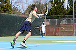 05 April 2015: Notre Dame's Alex Lawson. The University of North Carolina Tar Heels hosted the University of Notre Dame Fighting Irish at Cone-Kenfield Tennis Center in Chapel Hill, North Carolina in a 2014-15 NCAA Division I Men's Tennis match. UNC won the match 5-2.