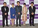 """Atsuro Watabe, Yoko Maki, Machiko Ono, Kentaro Horikirizono, Ryo Ishibashi, April 19, 2012. : Tokyo, Japan : (L-R)Actors Ryo Ishibashi, Machiko Ono, Atsuro Watabe, Yoko Maki and director Kentaro Horikirizono attend a premiere for the film """"Gaijikeisatsu"""" In Tokyo, Japan, on April 19, 2012."""