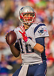 12 October 2014: New England Patriots quarterback Tom Brady looks downfield for an open receiver during a game against the Buffalo Bills at Ralph Wilson Stadium in Orchard Park, NY. The Patriots defeated the Bills 37-22 to move into first place in the AFC Eastern Division. Mandatory Credit: Ed Wolfstein Photo *** RAW (NEF) Image File Available ***