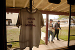 T-shirts for sale hand inside the Miracle Valley Bible College in Hereford, Arizona as Minutemen file into the cafeteria for breakfast on Sunday, April 3, 2005.<br />