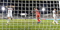 Orlando, FL - Saturday Jan. 21, 2017: São Paulo forward Gilberto (17) reacts to his missed header during the second half of the Florida Cup Championship match between São Paulo and Corinthians at Bright House Networks Stadium. The game ended 0-0 in regulation with São Paulo defeating Corinthians 4-3 on penalty kicks