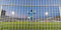 Orlando, FL - Saturday Jan. 21, 2017: São Paulo goalkeeper Denis (1) prepares for the first half of the Florida Cup Championship match between São Paulo and Corinthians at Bright House Networks Stadium.