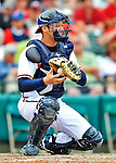 6 March 2012: Atlanta Braves catcher Mathew Kennelly in action during a Spring Training game against the Washington Nationals at Champion Park in Disney's Wide World of Sports Complex, Orlando, Florida. The Nationals defeated the Braves 5-2 in Grapefruit League action. Mandatory Credit: Ed Wolfstein Photo