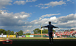 Photo of the Greenville Drive, Class A affiliate of the Boston Red Sox, in a game against the Charleston RiverDogs on May 15, 2011, at Fluor Field at the West End in Greenville, S.C. Photo by Tom Priddy / Four Seam Images