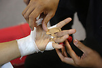 Hands bandaged before fight<br />