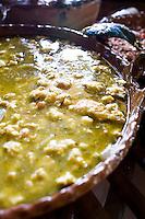 Huevo en Salsa Verde, egg in green sauce. Lunch in an orchrd in Zacatlan de las Manzanas, Puebla, Mexico.