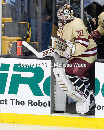 Chris Venti (BC - 30) - The Boston College Eagles defeated the University of Maine Black Bears 4-1 to win the 2012 Hockey East championship on Saturday, March 17, 2012, at TD Garden in Boston, Massachusetts.