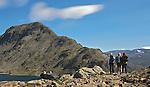 Besseggen, scenic view of the narrow edge that tourists must climb, in Jotunheimen mountainrange, Norway