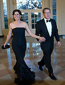 Jay Carney, White House Press Secretary and Claire Shipman, Senior National Correspondent, ABC News, arrive for the Official Dinner in honor of Prime Minister David Cameron of Great Britain and his wife, Samantha, at the White House in Washington, D.C. on Tuesday, March 14, 2012..Credit: Ron Sachs / CNP.(RESTRICTION: NO New York or New Jersey Newspapers or newspapers within a 75 mile radius of New York City)