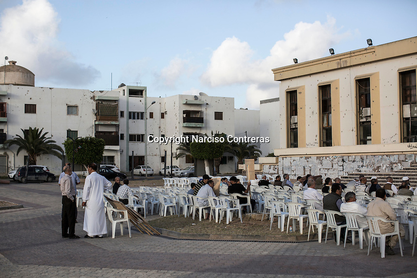 "Saturday 21, May 2016: Locals gather at the ""martyr's hall"" in downtown Misrata to show their support to the forces fighting ISIL in Abugrein, Libya."