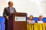"Introduction of Panelists, including Meena Bose (center)  and Governor Howard B. Dean III (right) at ""Change in the White House?"" on Thursday, April 19, 2012, at Hofstra University, Hempstead, New York, USA. Hofstra's event was part of ""Debate 2012"" which leads up to the Presidential Debate Hofstra is hosting on October 15, 2012."