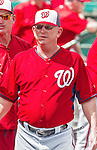 10 March 2015: Washington Nationals defensive coordinator and advance coach Mark Weidemaier (right) walks the dugout prior to a Spring Training game against the Miami Marlins at Roger Dean Stadium in Jupiter, Florida. The Marlins edged out the Nationals 2-1 on a walk-off solo home run in the 9th inning of Grapefruit League play. Mandatory Credit: Ed Wolfstein Photo *** RAW (NEF) Image File Available ***