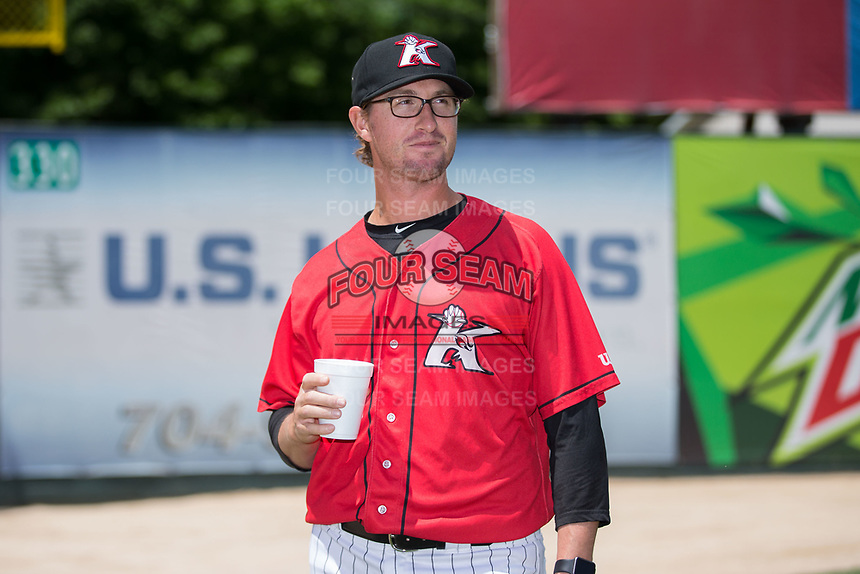 Kannapolis Intimidators pitching coach Matt Zaleski (25) prior to the game against the Asheville Tourists at Kannapolis Intimidators Stadium on May 7, 2017 in Kannapolis, North Carolina.  The Tourists defeated the Intimidators 4-1.  (Brian Westerholt/Four Seam Images)