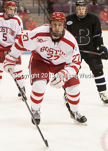 Doyle Somerby (BU - 27) - The visiting Bentley University Falcons defeated the Boston University Terriers 4-1 (EN) on Saturday, December 14, 2013, at Agganis Arena in Boston, Massachusetts.
