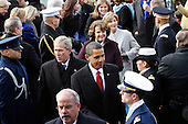 Washington, DC - January 20, 2009 -- United States President Barack Obama and former United States President George W. Bush leave the ceremony where Obama was sworn-in as the 44th president of the United States and the first African-American to lead the nation, at the Capitol in Washington, Tuesday, January  20, 2009..Credit: J. Scott Applewhite - Pool via CNP