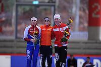 SPEED SKATING: INZELL: 04-12-2015, Max Aicher Arena, ISU World Cup, 500m Ladies, B-division, Yekaterina Shikova (RUS), Janine Smit (NED), Xin Zhang (CHN), ©foto Martin de Jong