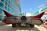 Garden City, New York. 15th June 2013. An iconic 1966 Batmobile, seen from rear, is at the Eternal Con Pop Culture Expo, which was hosted by the Cradle of Aviation Museum of Long Island.