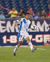 Puebla FC midfielder Felipe de Jesus Ayala (30) at midfield. The New England Revolution defeated Puebla FC in penalty kicks, in SuperLiga 2010 semifinal at Gillette Stadium on August 4, 2010.