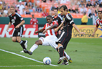 DC United defender Carrey Talley (3) makes a pass  against Chivas USA midfielder Michael Lahoud (11)   DC United defeated Chivas USA 3-2 at RFK Stadium, Saturday  May 29, 2010.
