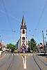 Evangelische Kirche (1903) auf einer Verkehrsinsel, Breite Straße, Mainz-Gonsenheim