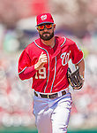 26 April 2014: Washington Nationals outfielder Kevin Frandsen trots back to the dugout during a game against the San Diego Padres at Nationals Park in Washington, DC. The Nationals shut out the Padres 4-0 to take the third game of their 4-game series. Mandatory Credit: Ed Wolfstein Photo *** RAW (NEF) Image File Available ***