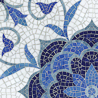 Aurelia, a handmade mosaic shown in Lapis Lazuli, Iolite, Mica, Absolute White, and Blue Spinel Sea Glass&trade; is part of the Sea Glass&trade; Collection by Sara Baldwin for New Ravenna. <br />