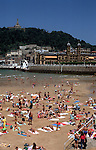 La Concha beach with Town Hall and Monte Urgull in San Sebasti&aacute;n (basque: Donostia), main city of the province Guip&uacute;zcoa, Basque Country, Northern Spain<br />