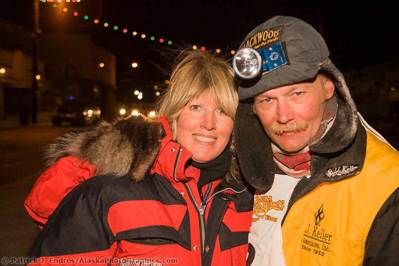 Mitch Seavey and his wife Janine pose at the finish line of the 2008 All Alaska Sweepstakes in Nome, Alaska. Seavey set a new record of  61:29:45.
