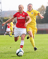 Katie Chapman of Arsenal in a race for the ball with Jana Sedlackova - Arsenal Ladies vs Sparta Prague - UEFA Women's Champions League at Boreham Wood FC - 11/11/09 - MANDATORY CREDIT: Gavin Ellis/TGSPHOTO - Self billing applies where appropriate - Tel: 0845 094 6026