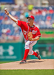 26 July 2013: Washington Nationals pitcher Jordan Zimmermann on the mound against the New York Mets at Nationals Park in Washington, DC. The Mets shut out the Nationals 11-0 in the first game of their day/night doubleheader. Mandatory Credit: Ed Wolfstein Photo *** RAW (NEF) Image File Available ***