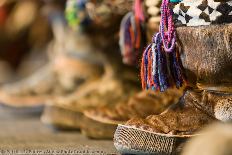 Decorative native Alaska mukluks worn by dancers at the 2007 AFN Conference