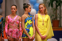 (L-R) Marina Shpekt of Russia, Luibov Charkashina and Inna Zhukova of Belarus share conversation during event final awards at 2006 Burgas Grand Prix from Burgas, Bulgaria on May 7, 2006.  (Photo by Tom Theobald)