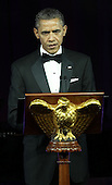 U.S. President Barack Obama speaks as he hosts British Prime Minister David Cameron and his wife Samantha Cameron for a state dinner at the South Lawn of the White House March 14, 2012 in Washington, DC. Prime Minister Cameron was on a three-day visit in the U.S. and he had talks with President Obama earlier the day.  .Credit: Alex Wong / Pool via CNP