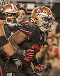San Francisco 49ers running back Carlos Hyde (28) celebrates touchdown run on Thursday, October 06, 2016 at Levis Stadium in Santa Clara, California. The Cardinals defeated the 49ers 33-21.