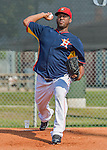 20 March 2015: Houston Astros pitcher Roberto Hernandez works in the bullpen prior to a Spring Training game against the Washington Nationals at Osceola County Stadium in Kissimmee, Florida. The Nationals defeated the Astros 7-5 in Grapefruit League play. Mandatory Credit: Ed Wolfstein Photo *** RAW (NEF) Image File Available ***