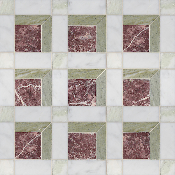 Paseo, a handmade mosaic shown in honed Chinese Purple, Verde Luna, Alba Chiara and Carrara, is part of the Illusions™ Collection by Sara Baldwin Designs and Paul Schatz for New Ravenna.