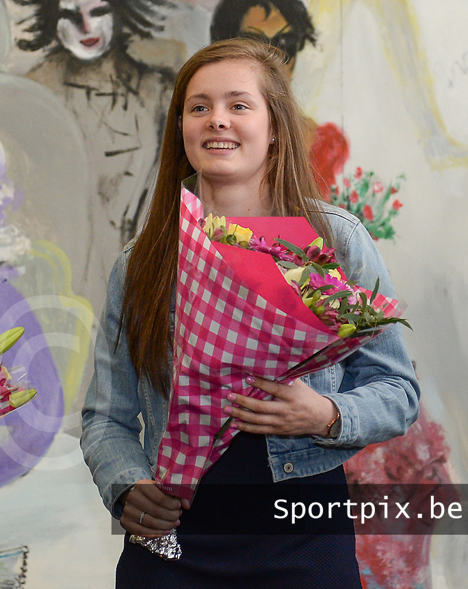 20150529 – OOSTENDE , BELGIUM : Anderlecht's Diede Lemey pictured during  the 1st edition of the Sparkle  award ceremony , Friday 29 May 2015, in Oostende . The Sparkle  is an award for the best female soccer player during the season 2014-2015 comparable to the Golden Shoe / Gouden Schoen / Soulier D'or for Men . PHOTO DAVID CATRY