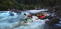 Dave Holzman & Pat Brown Kayak Green Bridge rapid class III+ whitewater, Waterton Canyon, CO.