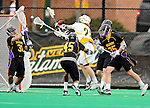 10 April 2011: University of Vermont Catamount attacker A.J. Masson, a Sophomore from Newmarket, Ontario, takes a shot on goaltender John Carroll (31) during game action against the University at Albany Great Danes on Moulton Winder Field in Burlington, Vermont. The Catamounts defeated the visiting Danes 11-6 in America East play. Mandatory Credit: Ed Wolfstein Photo
